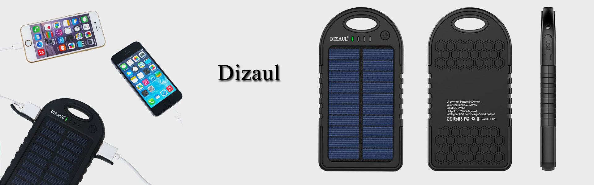 <p>Solar Charger,Dizaul 5000mAh Portable Solar Power Bank Waterproof/Shockproof/Dustproof Dual USB Battery Bank for cell phone,iPhone,Samsung,Android phones,Windows phones,GoPro Camera,GPS and More</p>