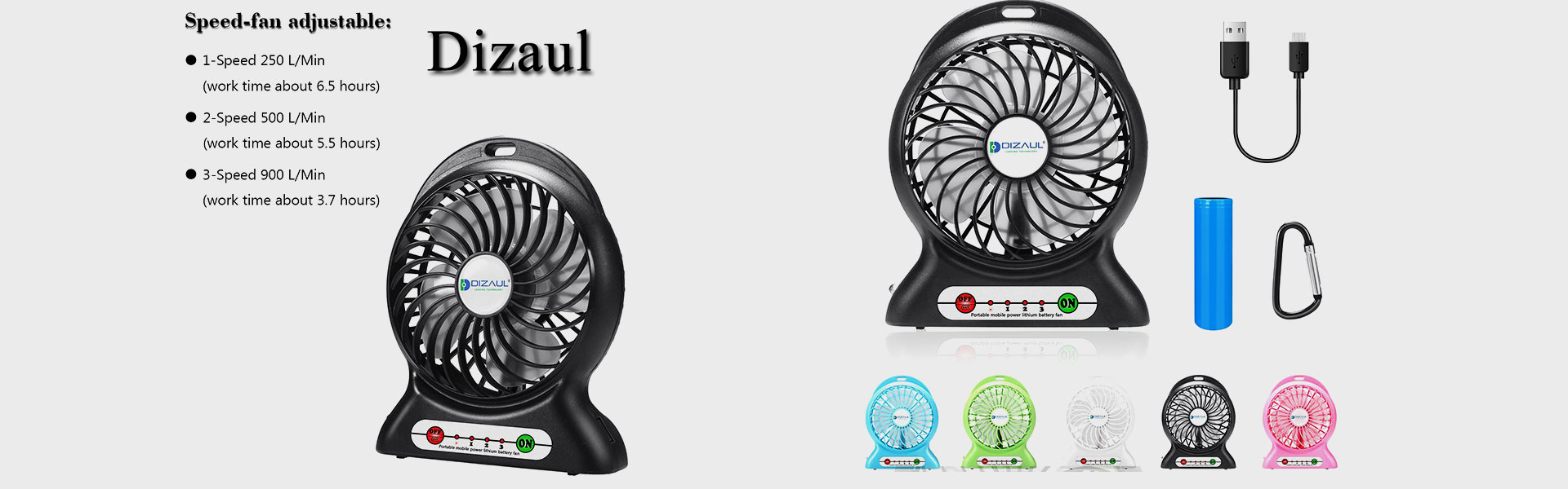 Portable Fan, Dizaul mini usb rechargeable fan with 2600mAh Power Bank and Flash light,for Traveling,Fishing,Camping,Hiking,Backpacking,BBQ,Baby Stroller,Picnic,Biking,Boating (Black)