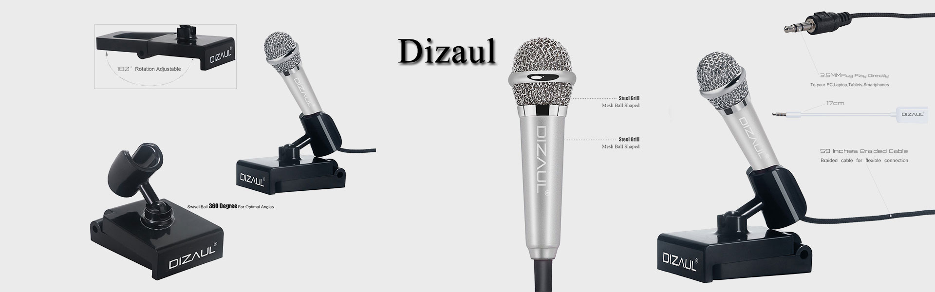 Mini Microphone,Dizaul Omnidirectional Stereo Mic for Voice Recording,Chatting