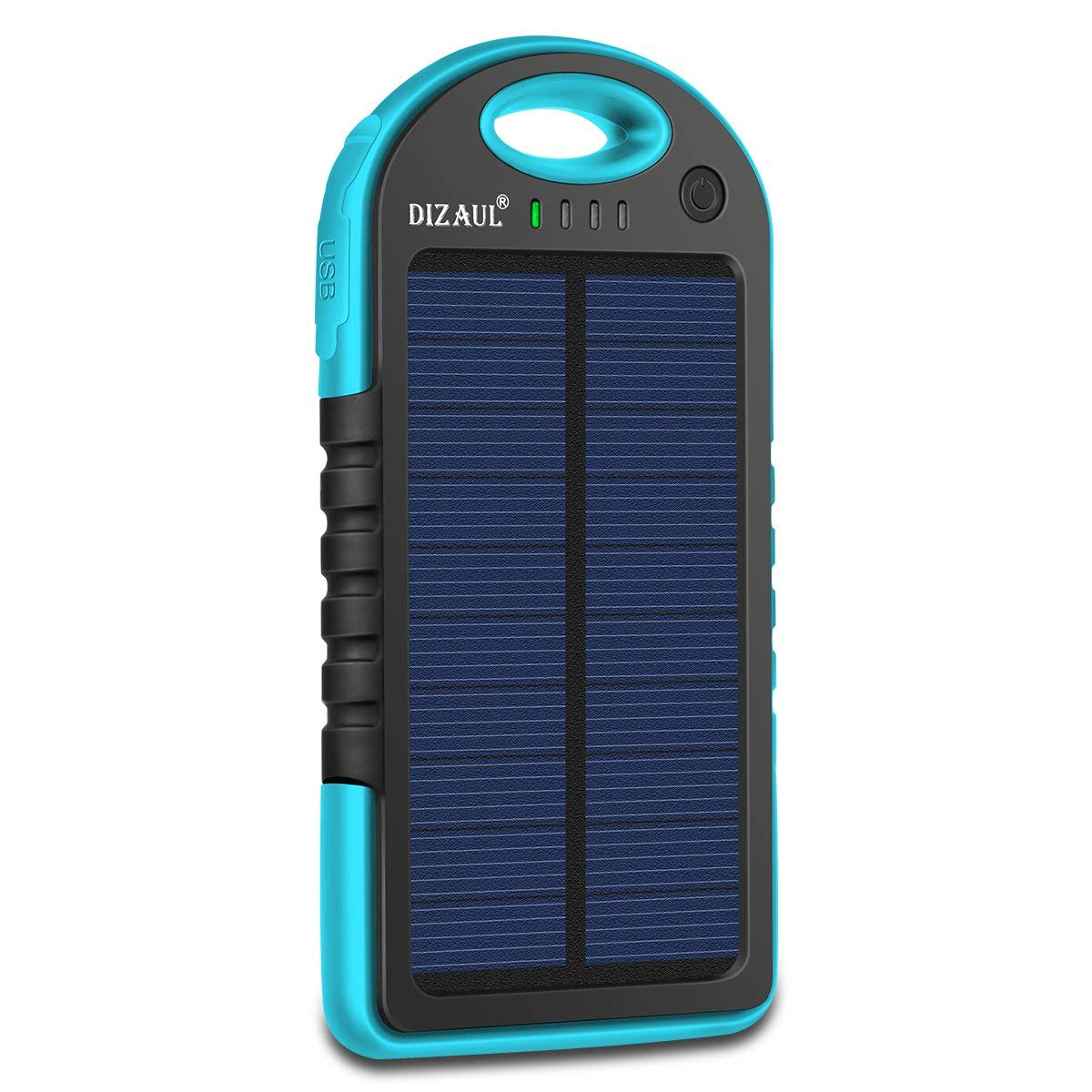 Solar Charger, Dizaul 5000mAh Portable Solar Power Bank Waterproof/Shockproof/Dustproof Dual USB Battery Bank for Cell Phone, Samsung, Android Phones, Windows Phones, GoPro Camera, GPS and More (Blue)