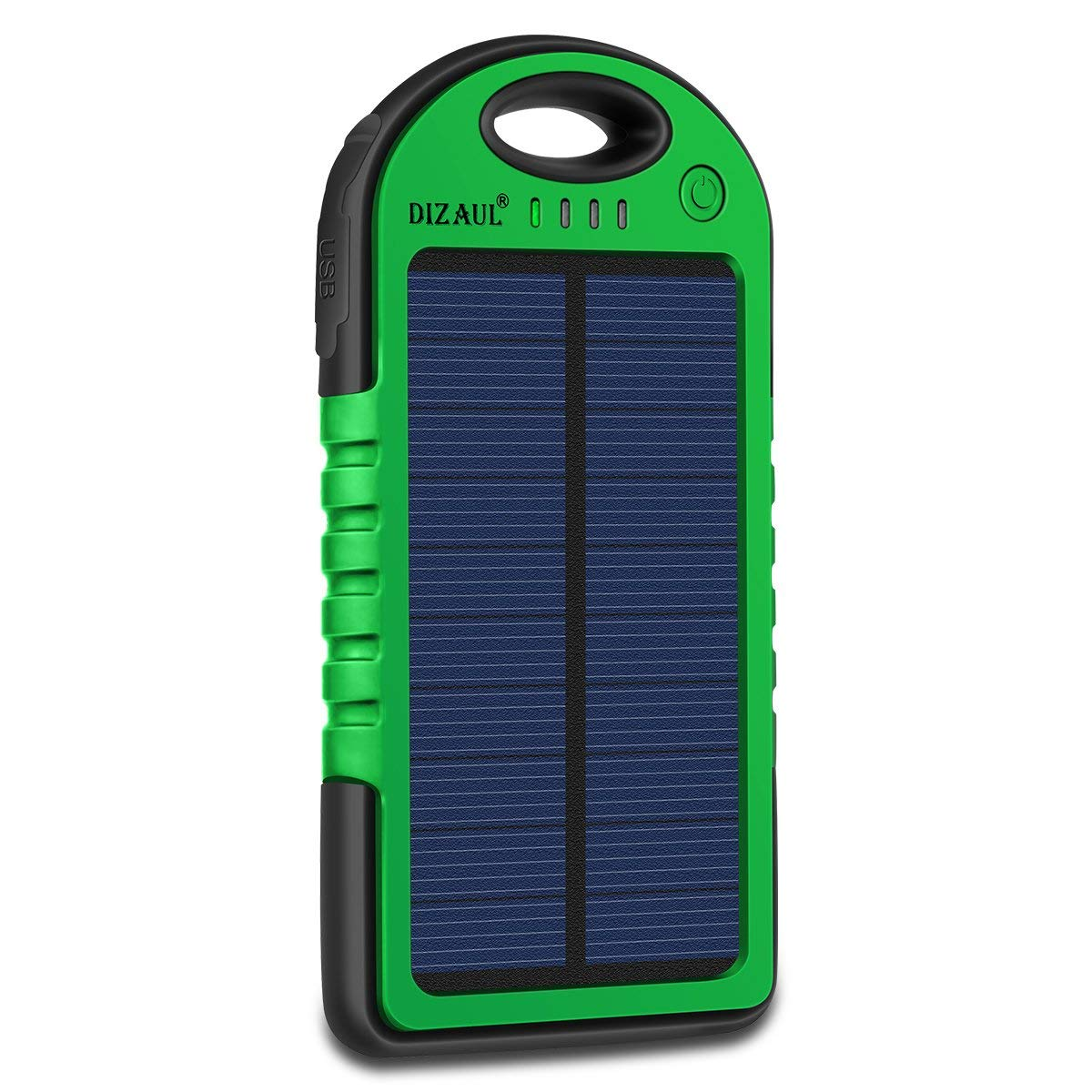 Solar Charger, Dizaul 5000mAh Portable Solar Power Bank Waterproof/Shockproof/Dustproof Dual USB Battery Bank for Cell Phone, Samsung, Android Phones, Windows Phones, GoPro Camera, GPS and More (Green)