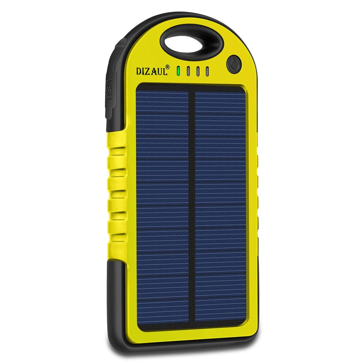 Solar Charger, Dizaul 5000mAh Portable Solar Power Bank Waterproof/Shockproof/Dustproof Dual USB Battery Bank for Cell Phone, Samsung, Android Phones, Windows Phones, GoPro Camera, GPS and More (Yellow)